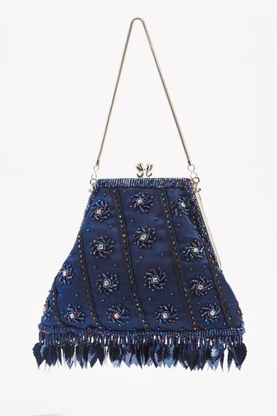 Navy Embellished Mini Clip Bag