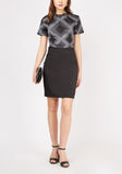 Black Print Office Dress