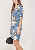 Blue Floral Middle Dress