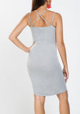 Grey Embroidered Bodycon Dress