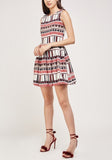 Printed Pleated Skater Dress