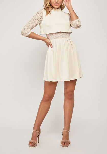 Lace Insert Contrasted Mini Dress