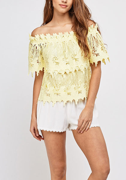 Yellow Lace Bardot Top