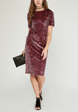 Leopard Print Midi Velveteen Dress