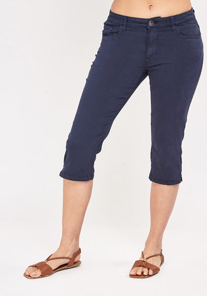 Blue Low Rise Crop Jeans