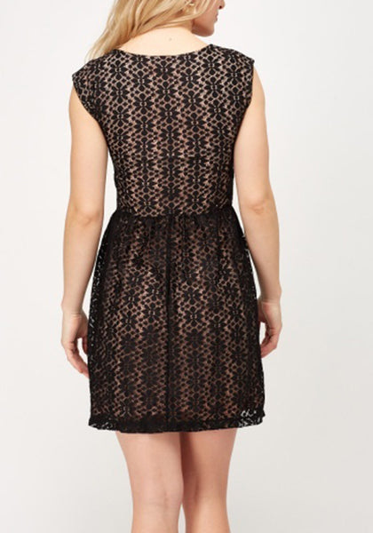 Mesh Black Overlay Contrast  Dress