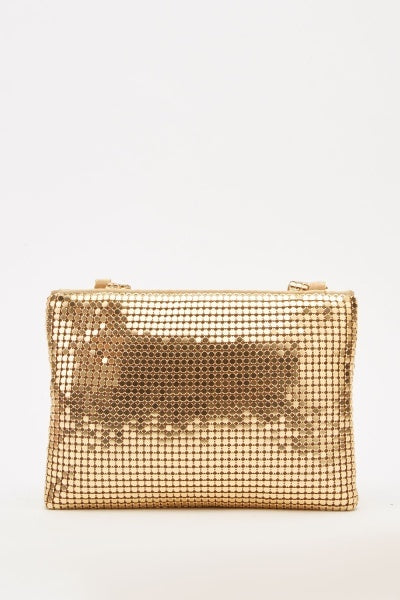 Gold Metal Plated Mesh Handbag