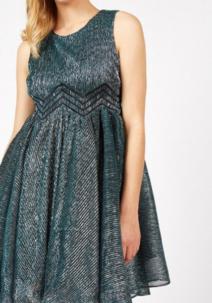 Metallic Pleated Skater Dress
