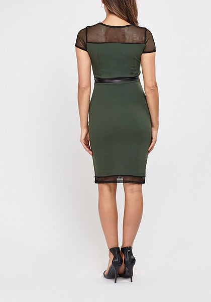 Mesh Contrast Bodycon Dress