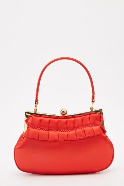 Red Pleated Beaded Frame Bag
