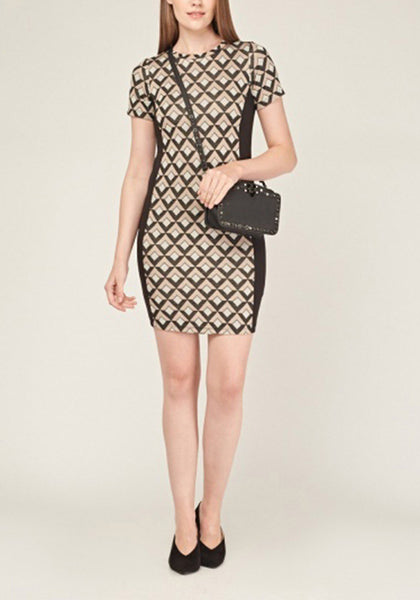 Printed Short Sleeve Shift Dress