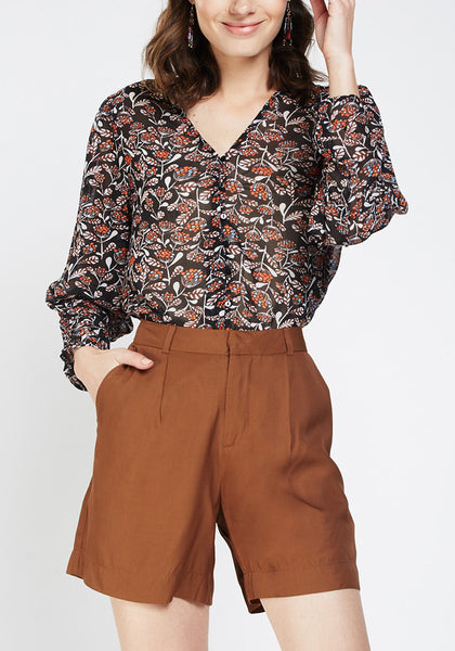 Retro Print Sheer Blouse