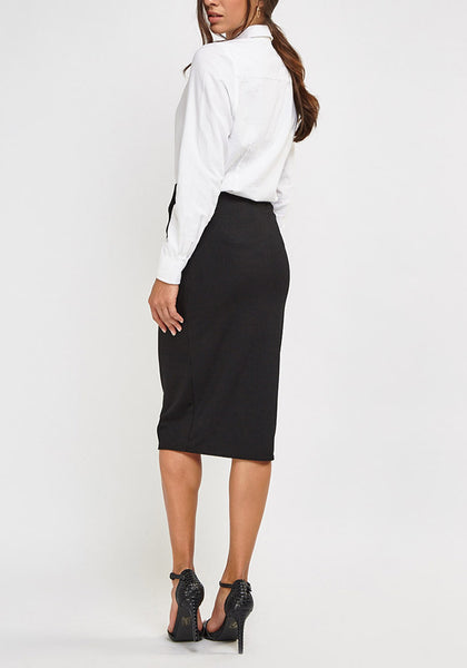 Navy Ribbed Midi Skirt