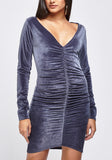Ruched Velveteen Dress