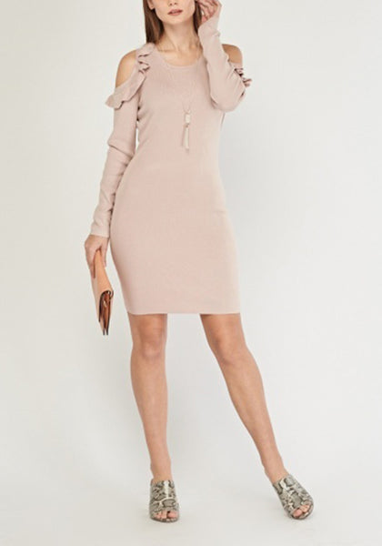 Nude Ruffle Rib Knit Dress