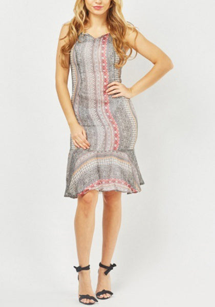 Sheer Tile Print Frilly Dress