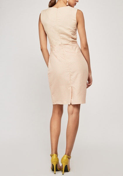 Cream Pink V-Neck Pencil Dress