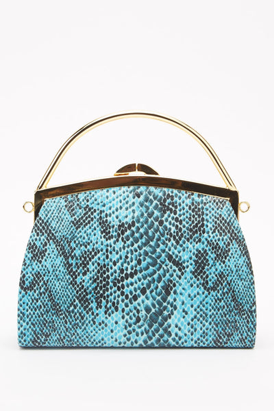 Snake-Skin Print Mini Frame Bag