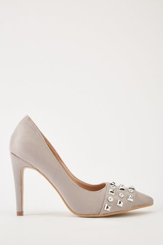 Grey Studded Faux Suede Heels