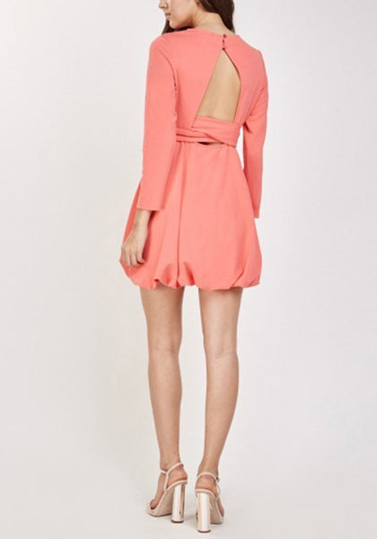 Coral Keyhole Back Dress