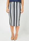 Vertical Stripe Midi Skirt