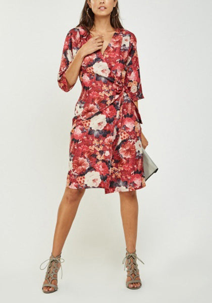 Wine Floral Tie Up Dress