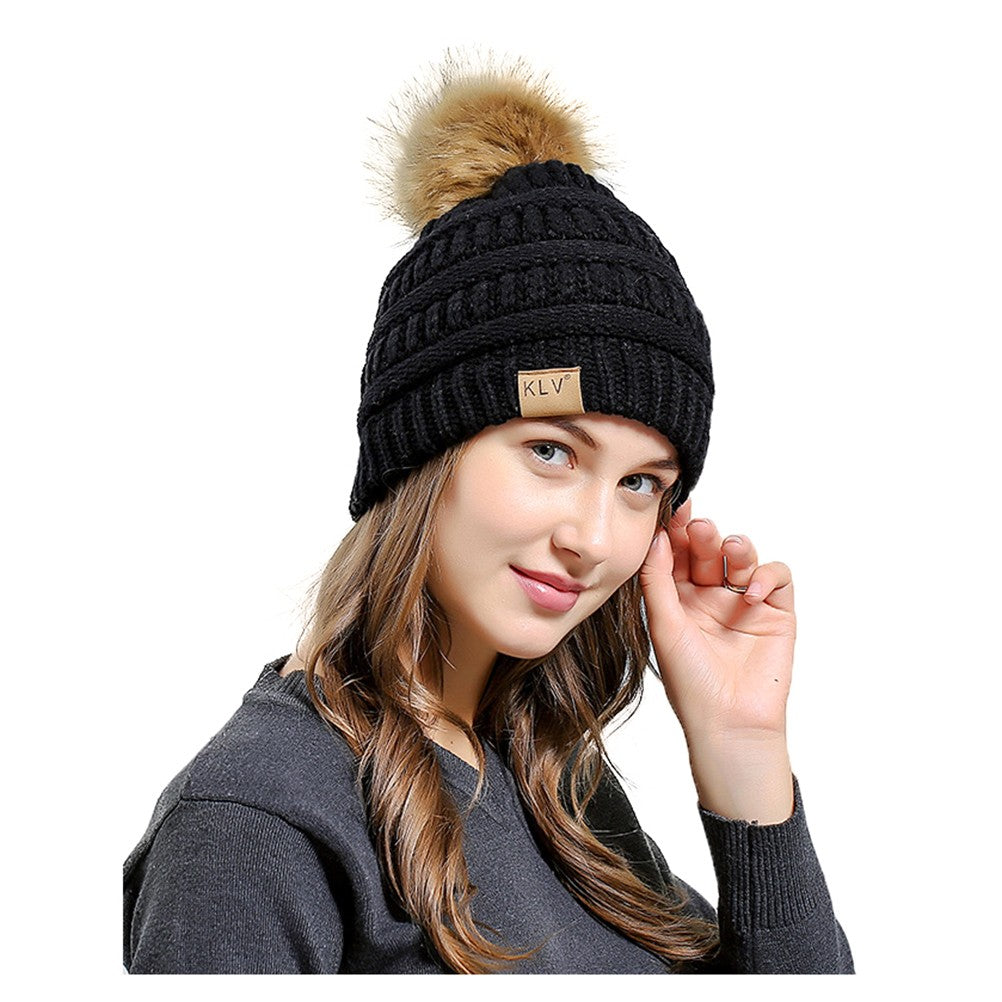 33e5a83e62f Hover to zoom · Soft Cable Knit Beanie Skully Warm Stretchy Hats With Faux  Fur ...