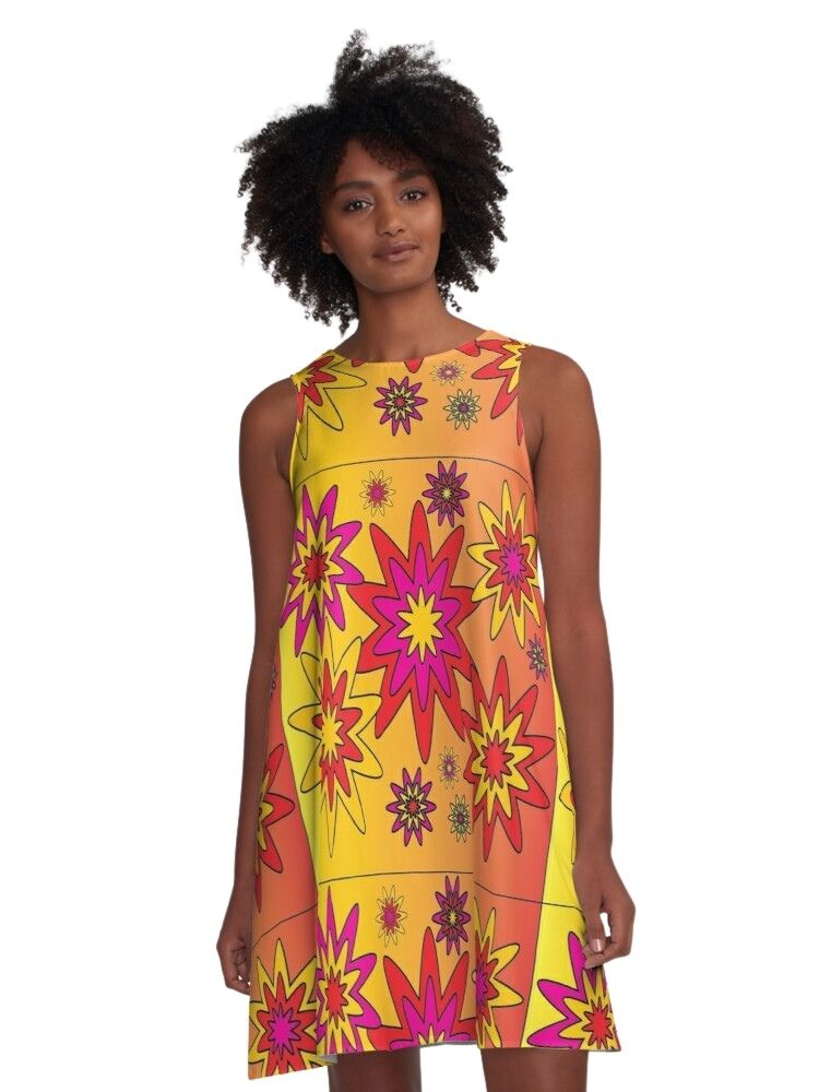tunic dress flowy sleeveless dress spring summer tunic dress blooming happy artwork wearable art fashion women's fashion creative art fashion original art fashion art fashion design skcreationsllc