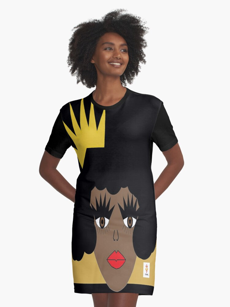 dress t-shirt dress skcreationsllc wearable art art for products art fashion let me adjust my crown black dress black owned business woman owned business creative art fashion original art fashion summer style women's fashion