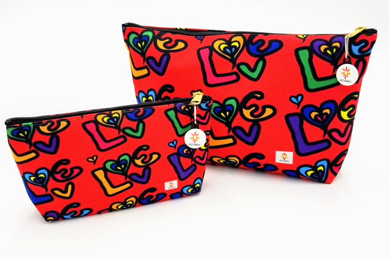 pouch, love, love 2, essential pouch, zippered pouch, carryall pouch, bags, accessories, skcreationsllc, 2021, art bags, cosmetic bag, black owned business, woman owned business, original art bags, wearable art, art for products