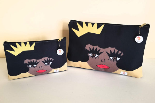 let me adjust my crown, pouches, art pouches, skcreationsllc, art bags, art to wear, queen, crown, black girl magic, online shopping, holiday shopping, gift ideas, gifts, custom bags, bags, wearable art, custom gifts, christmas, kwanzaa
