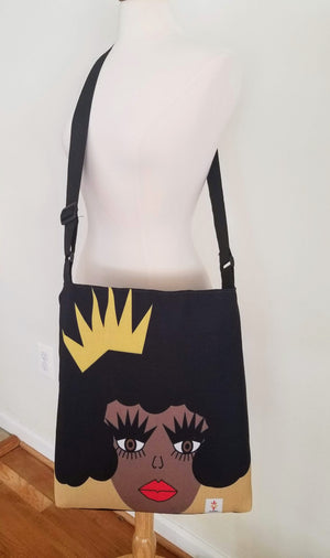skcreationsllc, bags, crossbody bag, pouches, let me adjust my crown, art bags, art to wear, art fashion, wearable art, black girl magic, black owned business, woman owned business, original art bag, handbag, digital art, creative business, one of a kind bags