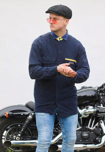 Nautica Competition USA 90s Navy Blue Vintage Flannel Shirt