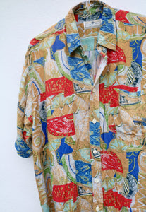Piccolo Mondo Tapestry Short Sleeve Vintage Shirt