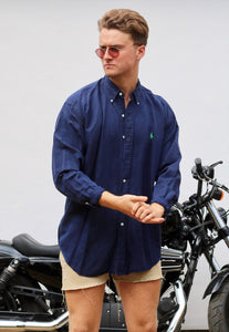 Ralph Lauren USA Navy Blue Silk Linen Blend Shirt