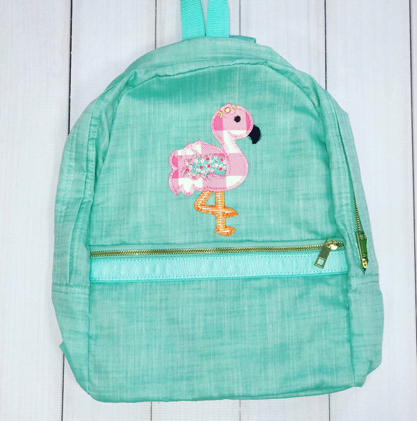 Large Backpack - Custom Flamingo Applique