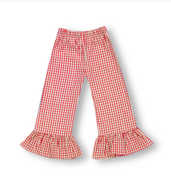 Red Ruffle Gingham Pants