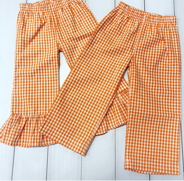 Orange Gingham Ruffle Pants