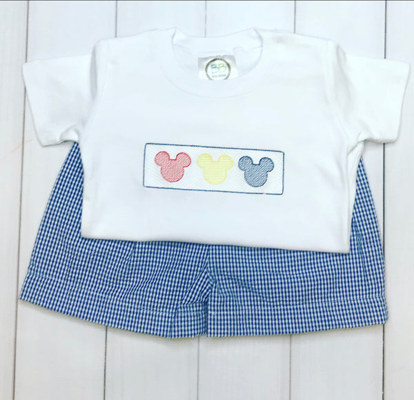 Blue Mouse Trio Faux Smocked