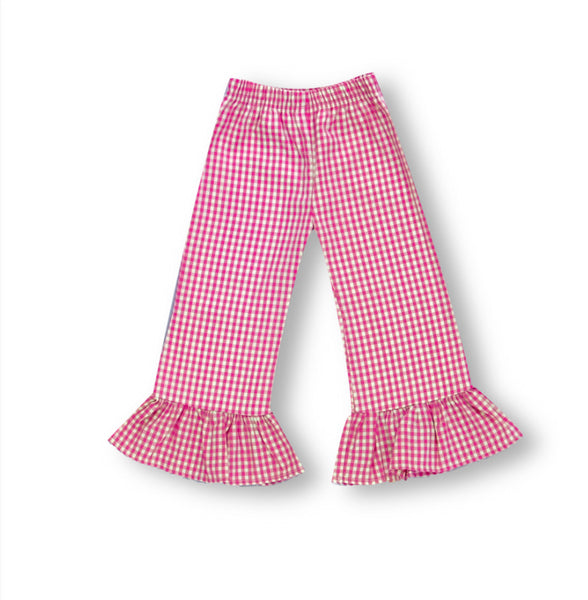 Hot Pink Gingham Ruffle Pants