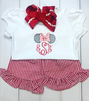 Sketch Bow Mouse Ears Monogram Tee