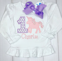 Birthday Unicorn Appliqué Shirt