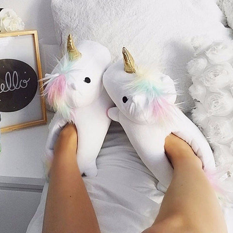 chaussons licorne blanches