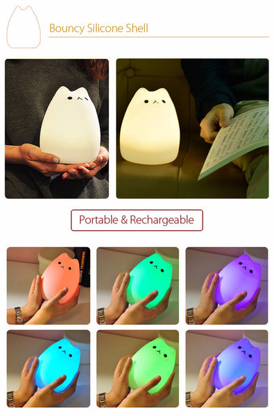 Veilleuse lampe chat tactile silicone