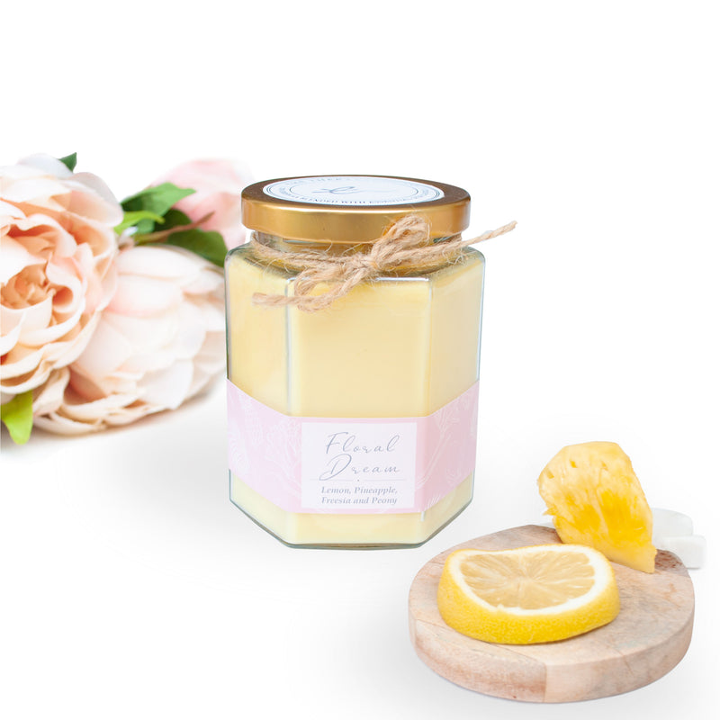floral dream beeswax candle, infused with Lemon, Pineapple, Freesia and Peony scents.