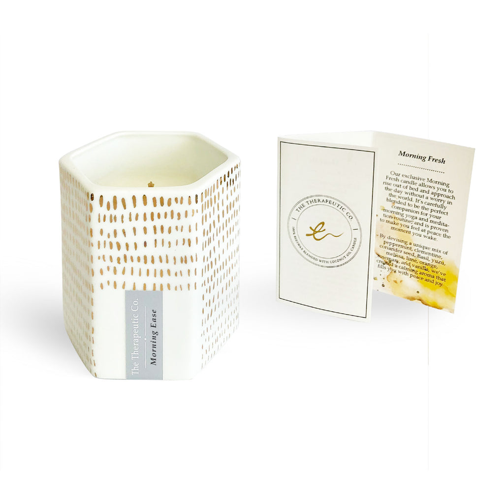 Our exclusive Morning Fresh aromatherapy beeswax candle allows you to rise out of bed and approach the day without a worry in the world. It's carefully blended to be the perfect companion for your morning yoga and meditation routine, and is proven to make you feel at peace the moment you wake.