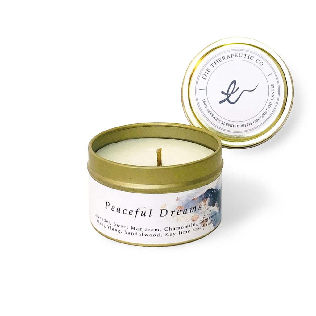 Aromatherapy beeswax candles - Peaceful dreams allows you to drift into deep sleep. The smooth and even blend of lavender, sweer marjoram, chamomile, bergamot, ylang ylang, sandalwood, key lime, and vanilla provides calming touch that your mind needs after a long day.
