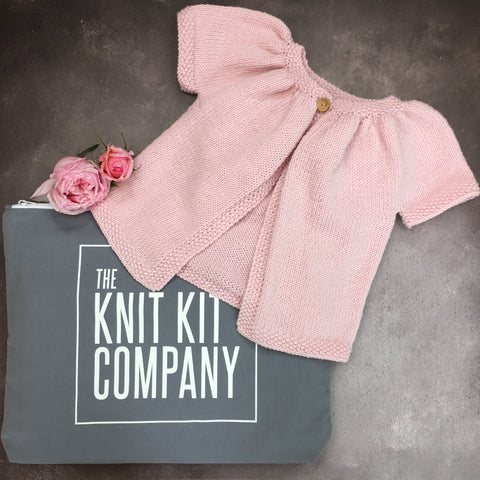 The Knit Kit Company | The Clare Cardy | Pink cardigan with Knit Kit Co Bag
