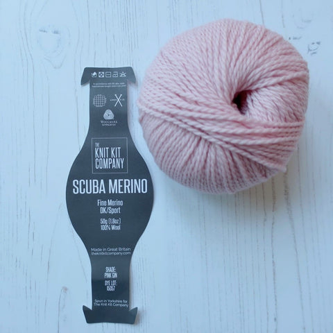 scuba merino yarn label by the knit kit company