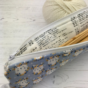 Handmade Knitting Needle Storage Bag by Cuckoo Blue - Blue Kitty